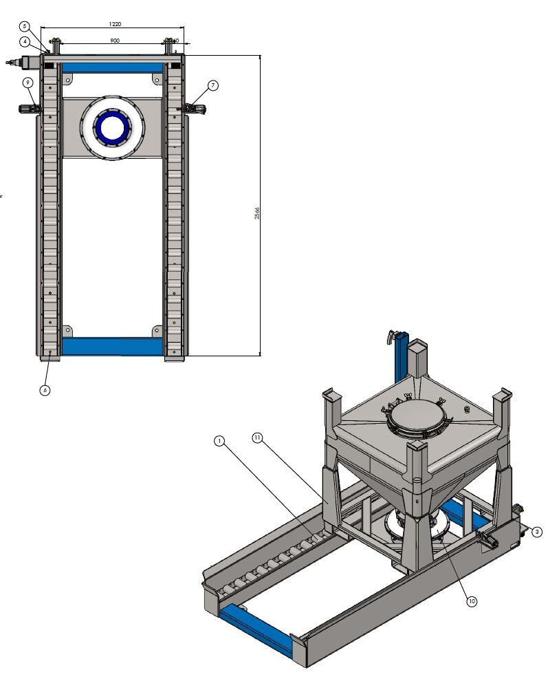 Entleerstation für Bestückung Container mit Plattenhubwagen